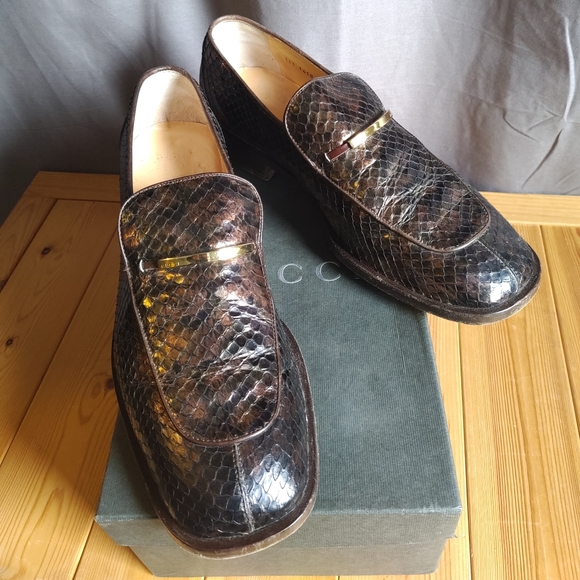 Gucci Vintage Python Skin Loafers Brown iridescent